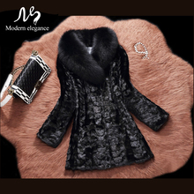 Fashion Real Fox Fur Collar Natural Mink Fur Coat Jacket Black Female Warm 2017 Noble Elegant Genuine Mink Fur Coats for Women