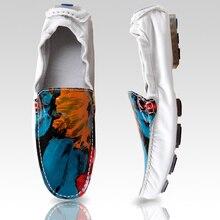 US6-10 Новый РЕАЛЬНЫЙ Кожаный Комфорт Граффити Loafer мужская мода Loafer вождения автомобиля обувь скольжения на лодке обувь