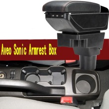 For Chevrolet AVEO Sonic armrest box central Store content Storage box with cup holder ashtray USB interface 2004-2016