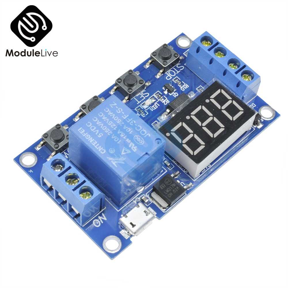 Micro USB 5V Digital LED Display Trigger Automation Delay Cycle Timer Control Switch Relay Module Board Controller