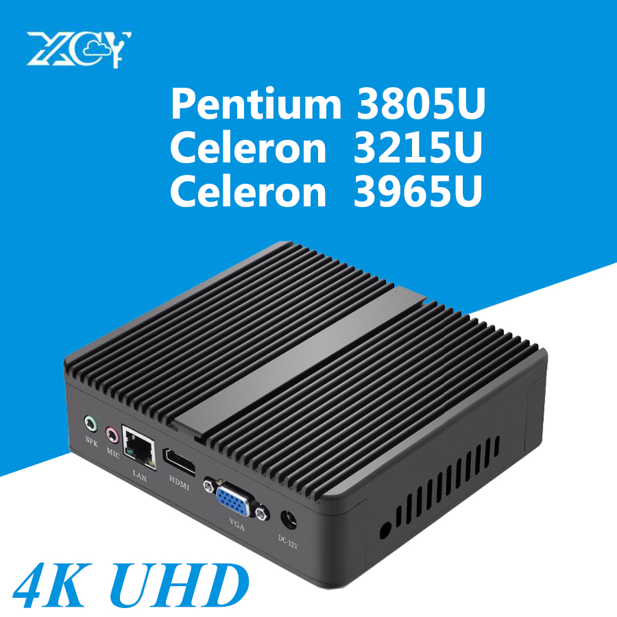 Mini PC 4K UHD Intel Celeron 3965U HD Graphics 610 RAM SSD WITH WIFI Windows 10 Fanless TV Box HDMI VGA WiFi HTPC Micro Computer