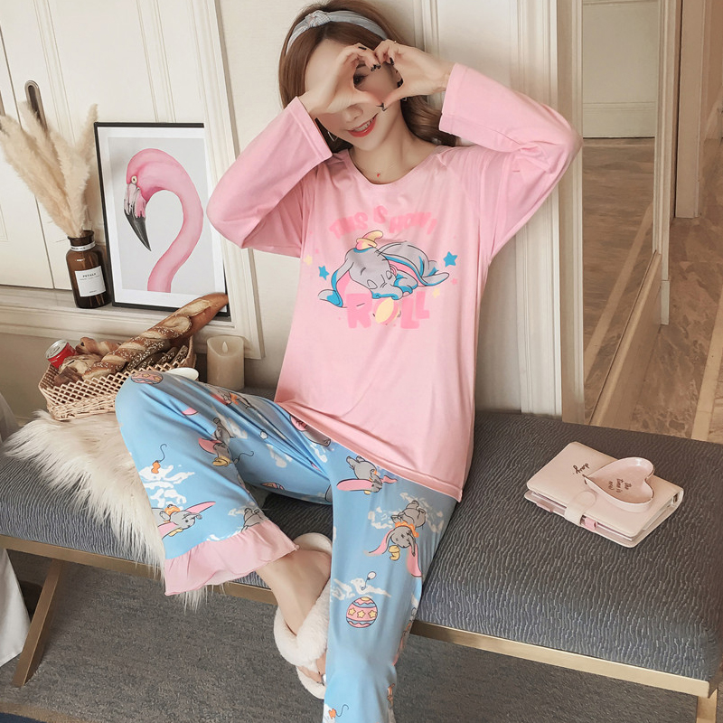 Cotton Comfortable   Pajama     Sets   2018 Autumn Winter Long Sleeve Women sweet cartoon Printed pink Sleepwear Homewear Girl Pyjamas