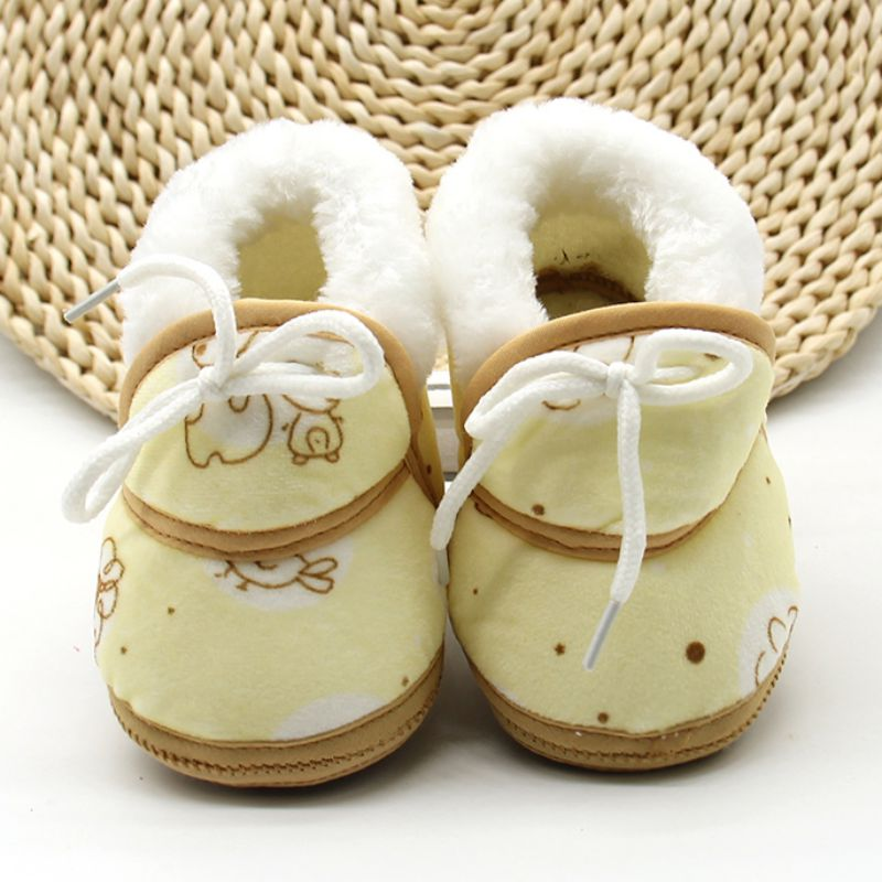 Baby Shoes Toddler Fleece Warm Newborn Baby Boys Girls Shoes Anti-skid Printed First Walkers 6-12M