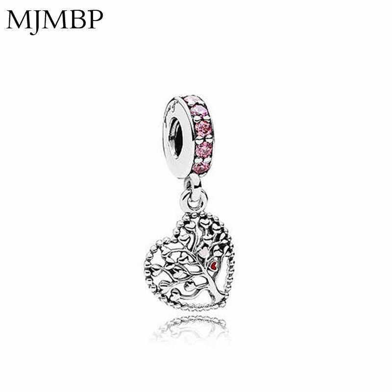Abalorios colgantes de cristal de árbol con corazón DIY, cuentas de moda bonita aptas para Pandora, regalo para pulseras y collares, fabricación de joyería, regalos para mujeres