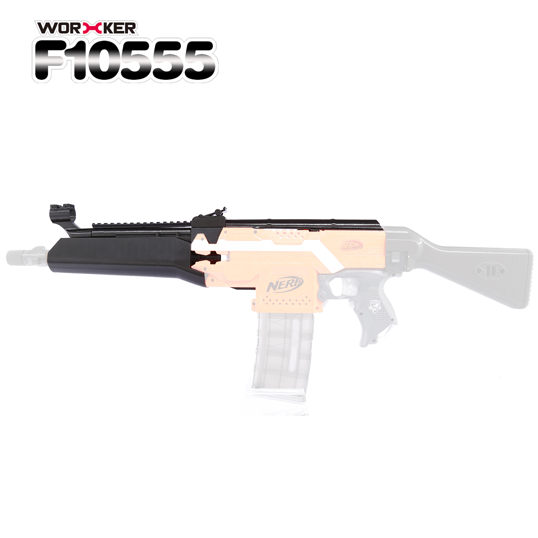 Worker f10556 3D Printing NO.105 Modified Kit for Nerf Stryfe(Type-B) - Black worker f10555 no 152 stf type b set professional toy gun accessories for nerf stryfe black