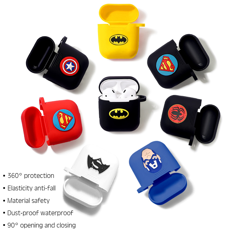 Marvel Wireless Bluetooth Earphone Case For Apple AirPods Charging Headphones Protection Cases Cover Charging Box Accessories-in Earphone Accessories from Consumer Electronics