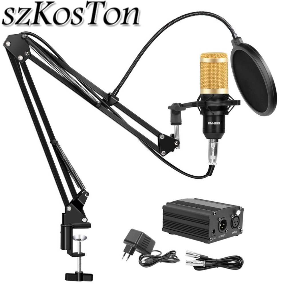 szKosTon Karaoke Microphone Kits bm 800 Studio Microphone BM-800 Mic Kit Condenser Microphone Bundle Microphone for Computer professional condenser microphone bm 800 bm 800 cardioid pro audio studio vocal recording mic 48v phantom power usb sound card