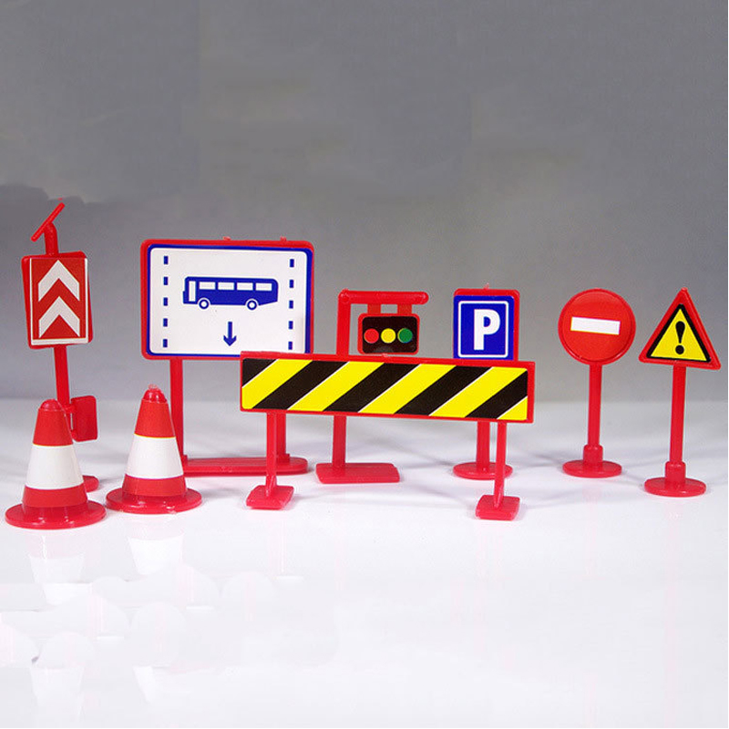 1pc Mini Foreign Trade Roadblock Signpost Kids Traffic Lights Sign Model Technology Lear ...