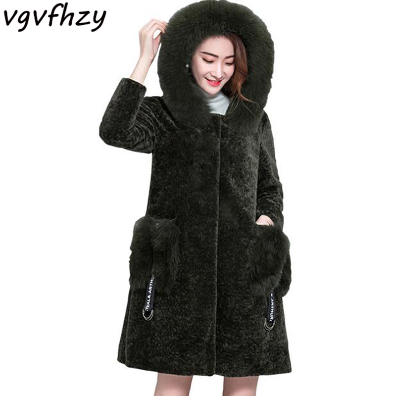 Women Fox Fur Collar Hooded Jacket Women Coat Sweet Elegant Thick Warm Caligan 2017 New Winter Coat Plus Size Lamb Wool Outwear thickening warm fur collar winter coat new 2016 women clothes lamb wool jacket hooded parka army green overcoat xl a3878