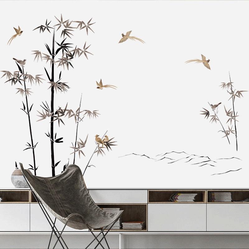 Bambu pvc adesivos de parede árvore poster do vintage sala estar quarto homeoffice deco adolescente decoração estético papel parede mural