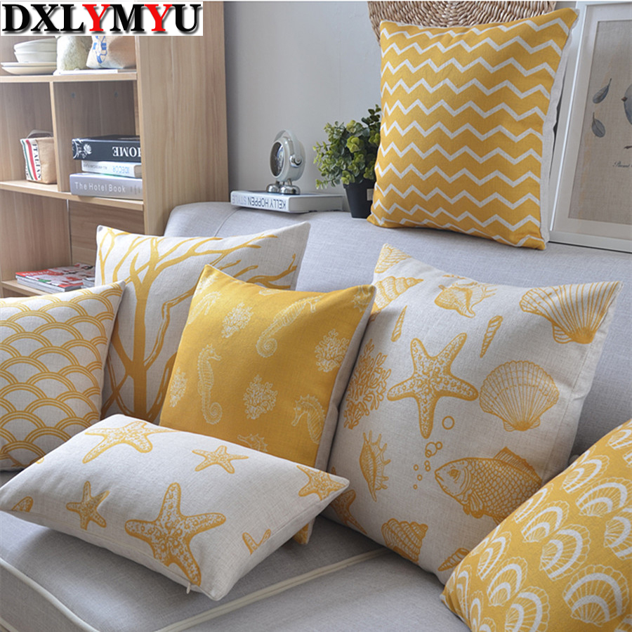 Linen Pillow Yellow Palm Tree Starfish Cushion For Sofa Nord Style Decorative Pillow 45x45cm/30x50cm Cushion Home Decor