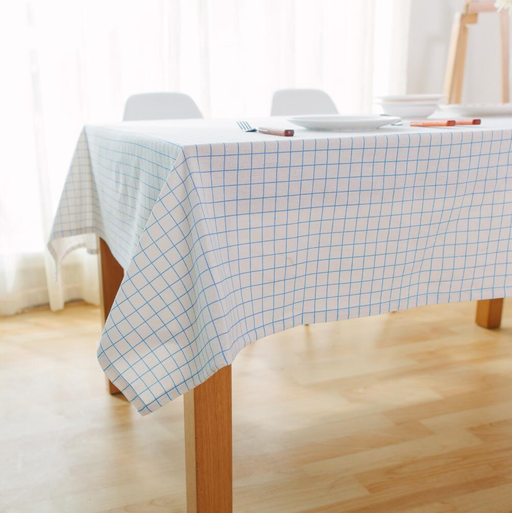 High Quality Car Printed Cotton Linen Blackout Curtain: Tablecloth Blue Table Cover Plaid Print Dining Cotton