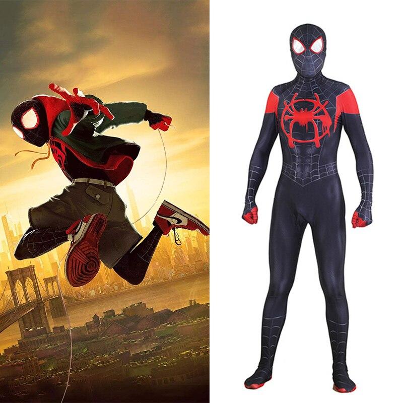 SpiderMan nel SpiderVerse Miles Morales Cosplay Costume Zentai 3D Modello Tuta Vestito Tute e Tute da Palestra Uomini di Età I Bambini