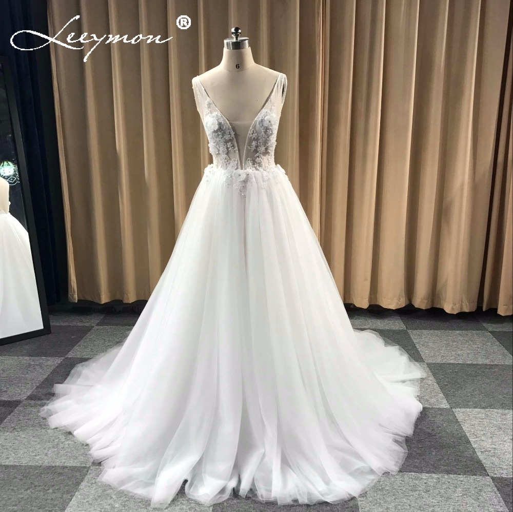 New Sexy Ilussion V Neck A Line Wedding Dress Appliques Beading Long Strapless Open Back Bridal