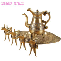 XING KILO High grade bronze wine set, Chinese household white wine pot, antique wine glass, goblet, wine cellar, gift box