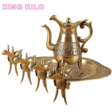 XING KILO High-grade bronze wine set, Chinese household white pot, antique glass, goblet, cellar, gift box