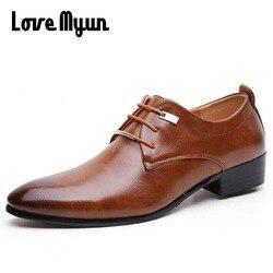 حار بيع رجالي أحذية من الجلد الرجال اللباس أحذية النمط البريطاني الدانتيل يصل وأشار اصبع القدم منخفضة الأعلى الشقق 2 الألوان كبيرة حجم 37-46 AA-04