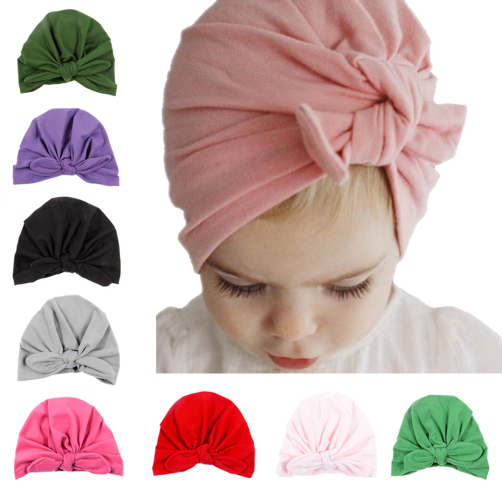Yundfly Newborn Children Supplies Hat Bohemia Style Girls Turban Headband Cotton Blend Elastic Hair Band Scarf Set Of Headwear