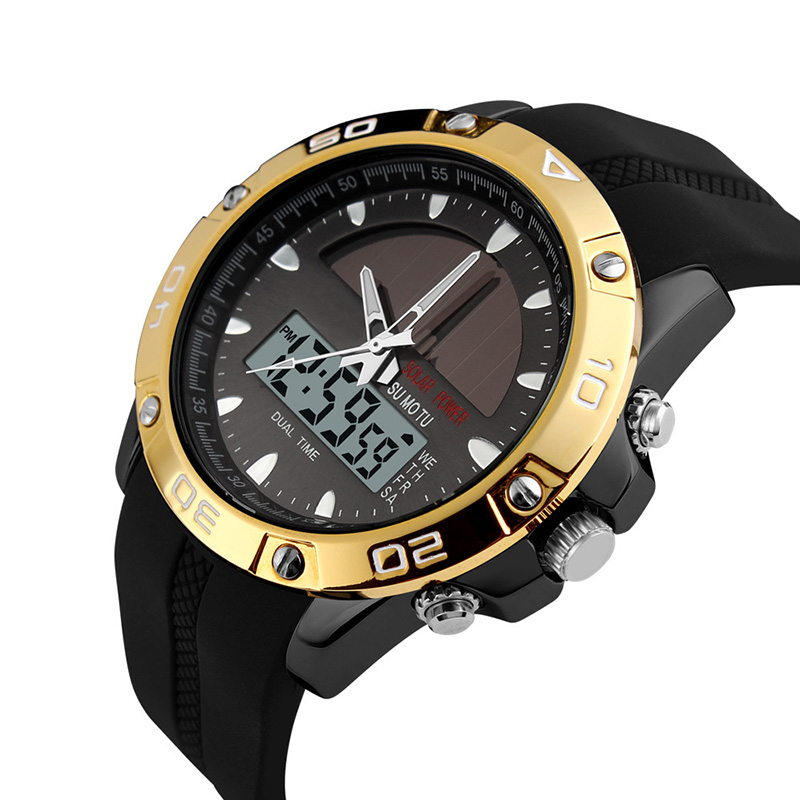 Men Sports LED Digital Quartz Military Outdoor Dress Clock Wristwatches Solar Energy Watches Multifunctional LL