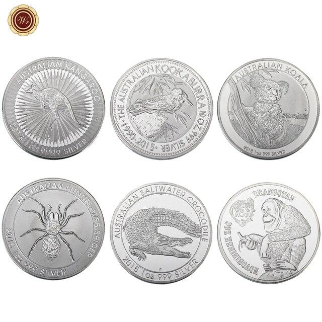 WR 6pcs Australia Animal Design Silver Plated Challenge Coin Home Decor  Elizabeth II Commemorative Metal Coin