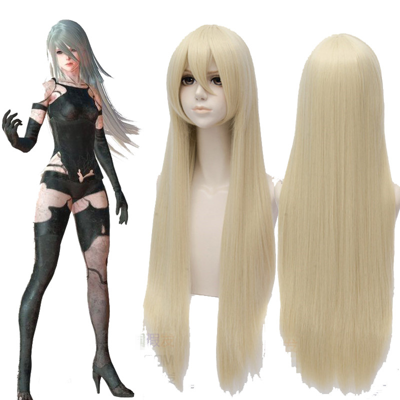 2017 New Game NieR:Automata A2 Cosplay Wigs Halloween,Party,Stage,Play Long Hair Light Golden High quality