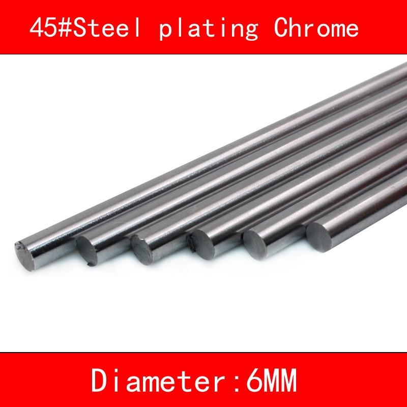 2 шт. 45 # Сталь покрытие хром линейный вал Диаметр 6 мм длина 100 мм-500 мм 3D принтер Часть CNC линейных железнодорожных вала