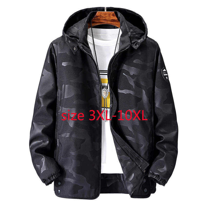 2019 New Arrival Fashion Spring Autumn Jacket Men Thin Windshield Coat Super Large Camouflage Casual Plus Size 3XL-7XL8XL9XL10XL