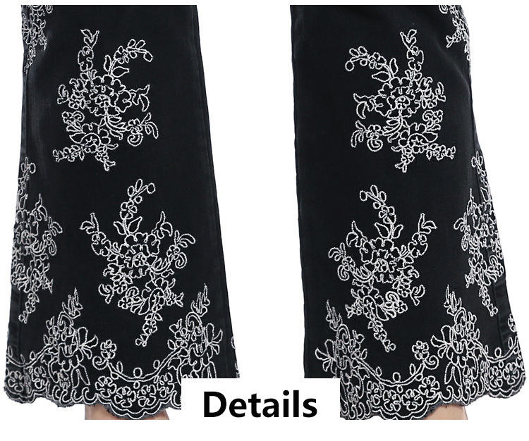 KSTUN FERZIGE women jeans high waist stretchy black embroidered flares denim pants mom jeans ladies trousers vaqueros mujer larger 36 19