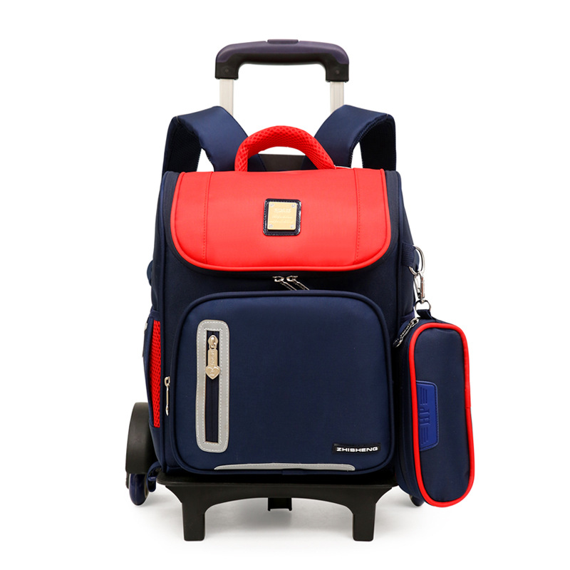 2 6 Wheels New Children School Bags Trolley Backpacks For Boys Schoolbag Kids Luggage Bag On