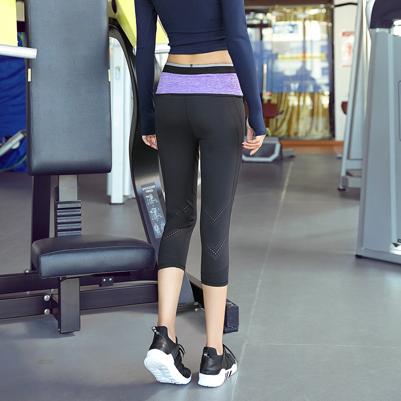 Contrast Waistband Zip Pocket Yoga Capri Pants High Waist Power Hold Fitness Running Sports 4 Way Stretch Yoga Capris Leggings