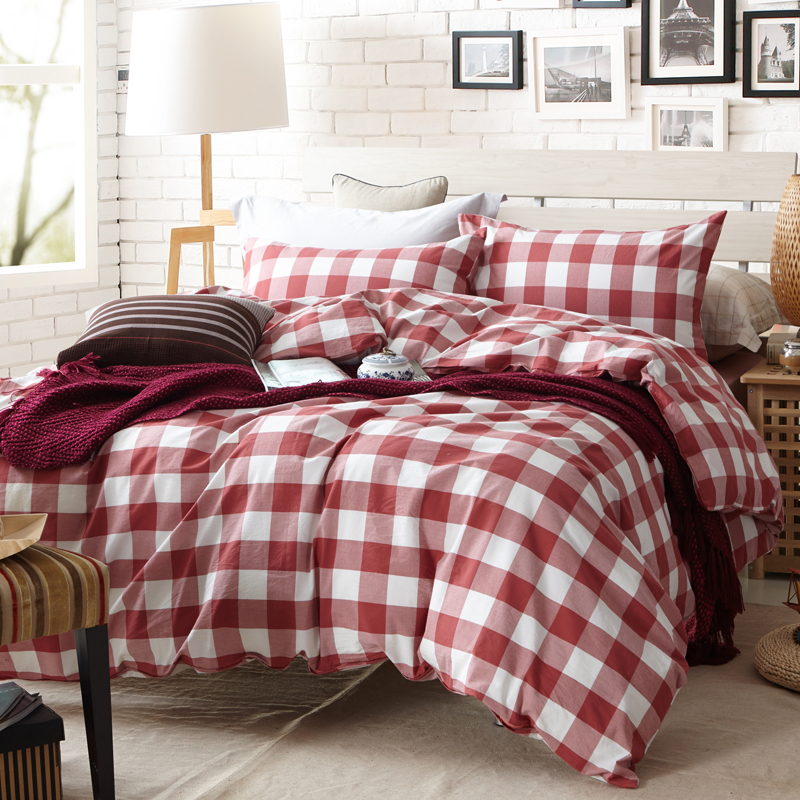 Red And White Plaid Duvet Cover Set For Single Or Double