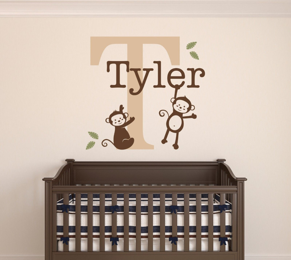Custom Monkeys Name Wall Decal - Baby Boys Room Decor - Nursery Wall Decor Vinyl 22x26inch