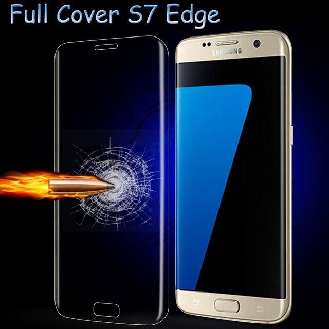 Para samsung galaxy s7 edge 3d curvada superficie cubierta de cristal templado de cine con el paquete al por menor protector de pantalla completa