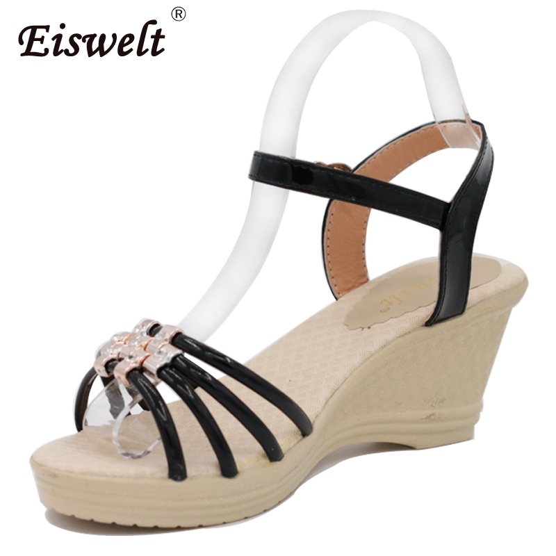 Eiswelt Woman Sandals 2017 Summer Fashion Women Sweet Wedge Open Toe Sandals Summer Shoes#ZQS053 lin king new woman sandals platform summer shoes women sweet bowtie buckle wedge lady sandals fashion open toe single shoes