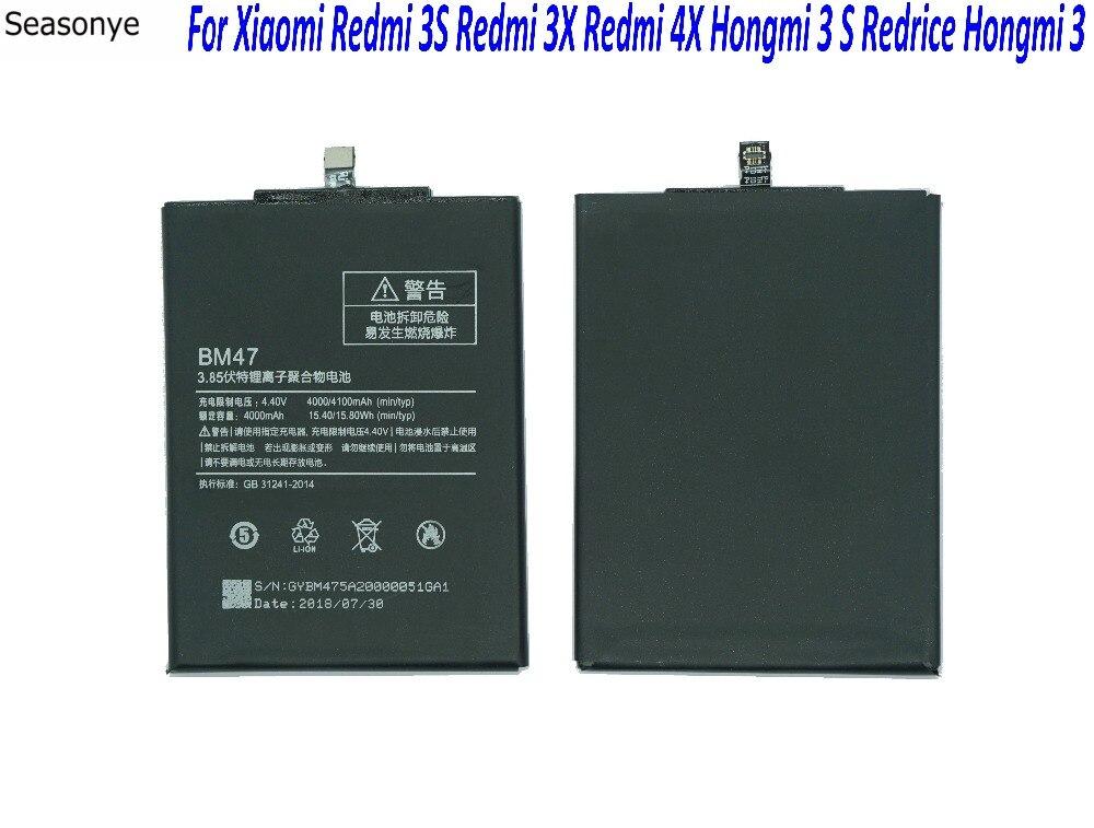 Seasonye 1x4000 mah/15.4Wh BM47/BM 47 Li-Polímero Bateria de Substituição Do Telefone Para Xiaomi Redmi hongmi 3 3 s 3 s 4X3X3 Pro