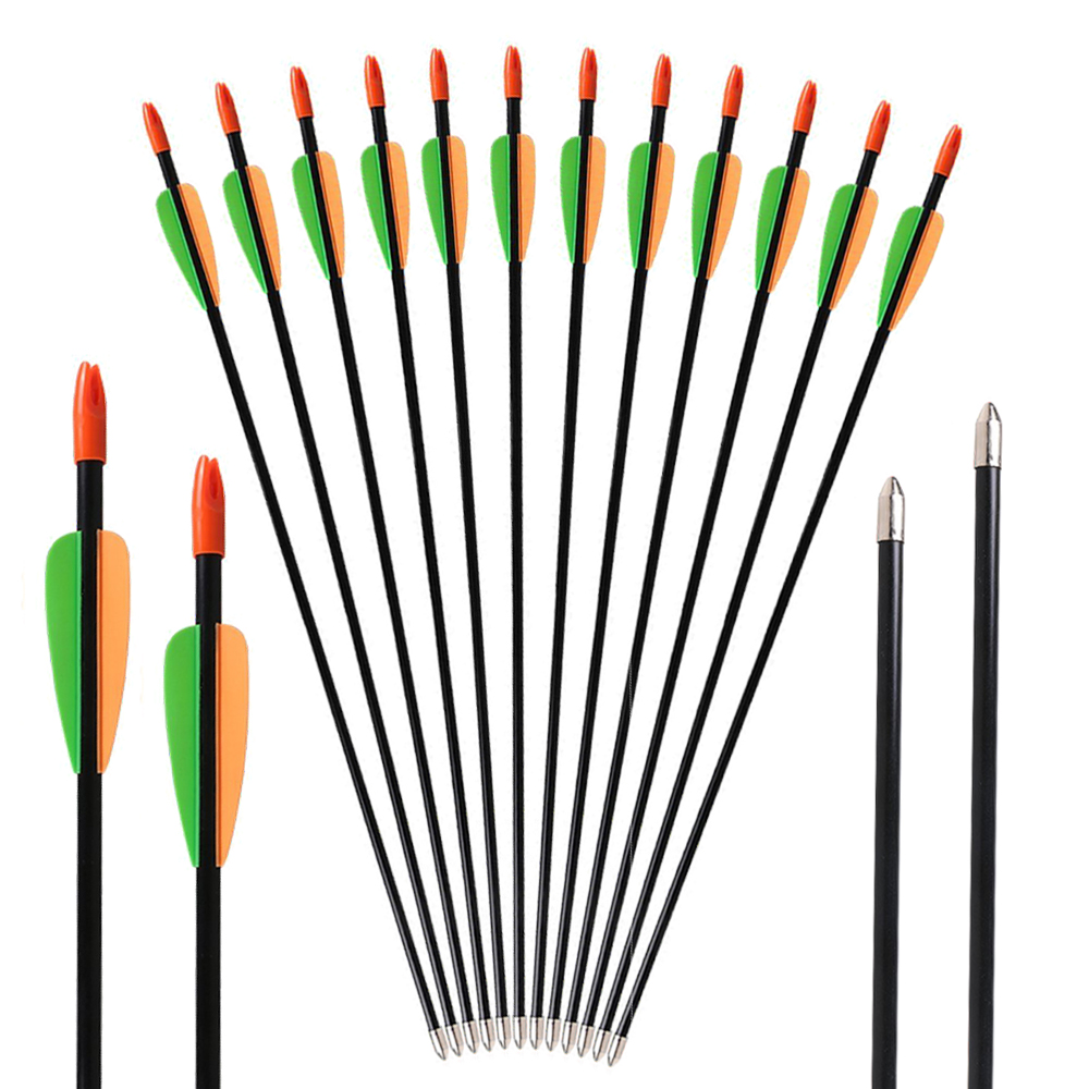 6pcs 28inch OD 7mm Fiberglass Arrows for Children Archery Shooting Practice Take-down Bo ...