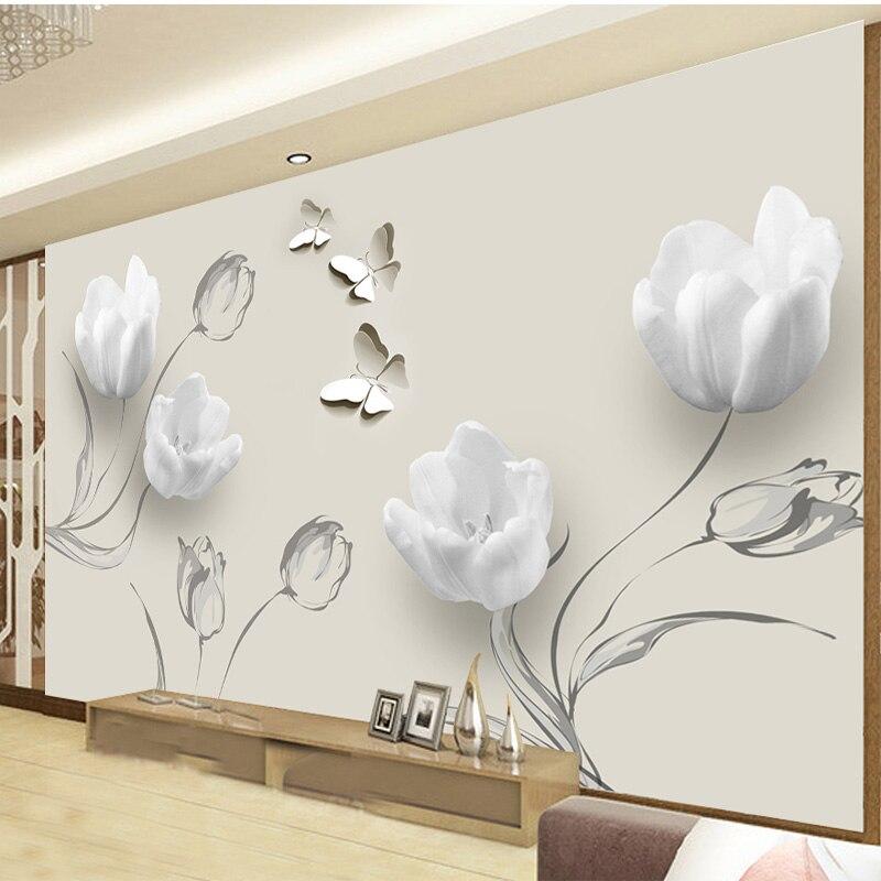 Custom 3D Photo Wallpaper Fashion Minimalist Tulip Butterfly 3D Art Mural Living Room Sofa Background Wallpaper Home Decoration