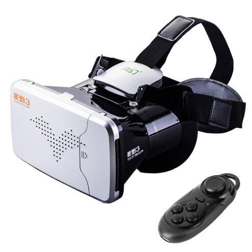 RITECH III <font><b>VR</b></font> <font><b>Virtual</b></font> <font><b>Reality</b></font> 3D <font><b>Glasses</b></font> <font><b>Headset</b></font> <font><b>Oculus</b></font> <font><b>Rift</b></font> Head Mount Cardboard for 3.5''-6'' Phone + Bluetooth Remote Control