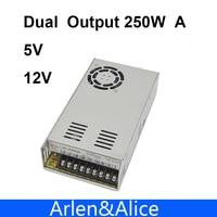 250W Dual Output 5V 12V Switching Power Supply AC To DC DC 20A DC 12 5A