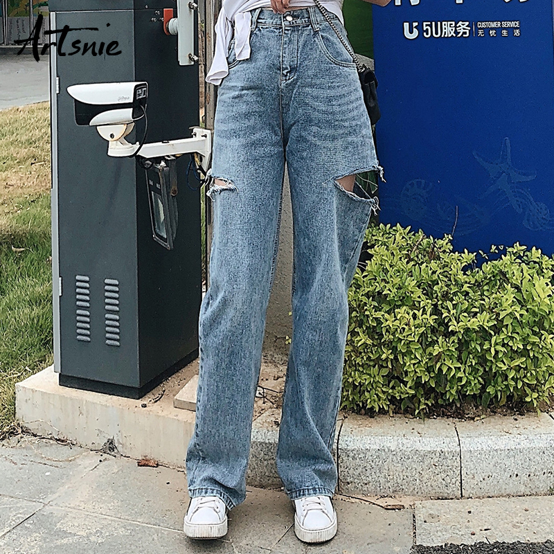 Artsnie High Waist Blue Casual Denim Pants Women Spring 2019 Double Pockets Hole Boyfriends Long Pants Female Loose Jeans Mujer