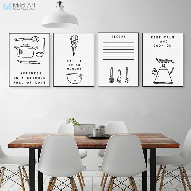 black and white inspiration food quotes poster print nordic kitchen wall art pictures minimalist home decoration - Kitchen Wall Art