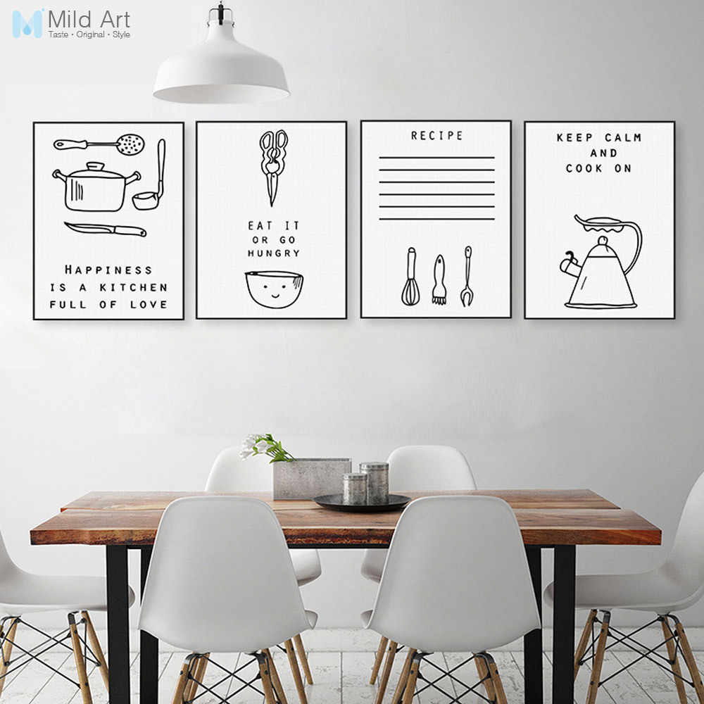 84a41f2610f Black and White Inspiration Food Quotes Poster Print Nordic Kitchen Wall Art  Pictures Minimalist Home Decoration