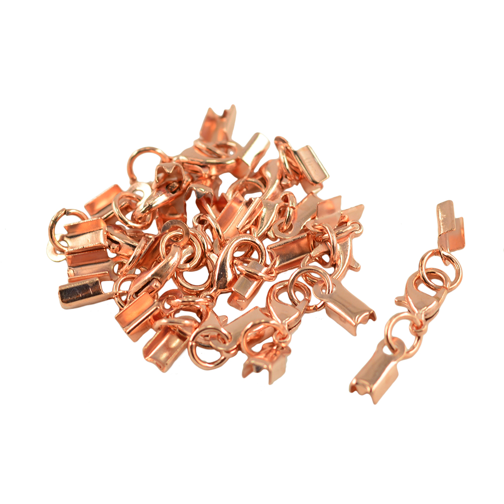 12 Pieces Lobster Claw Clasp leather Crimp Clip Ends Set for Necklaces or Bracelets Used in Jewelry Findings Components from Jewelry Accessories