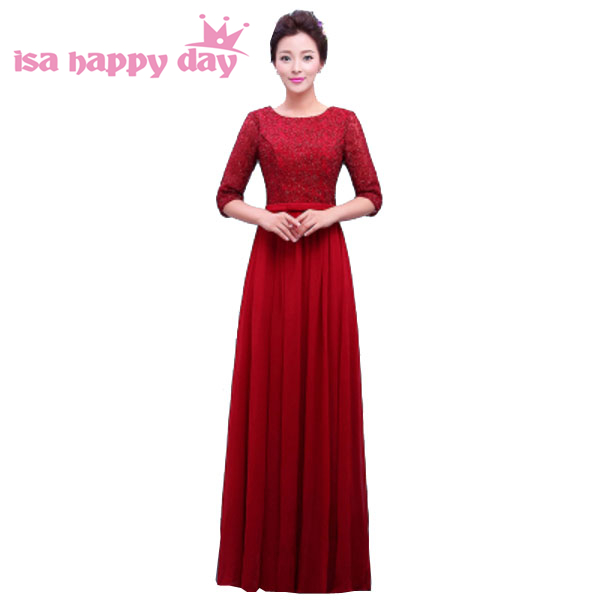 Dark Red Elegant Dress Burgundy Evening Dresses Long Chiffon Womens