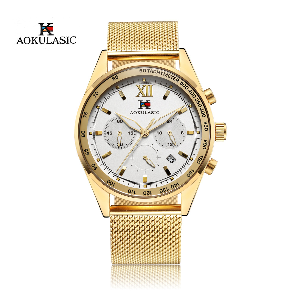 AOKULASIC Gold Quartz Watches Men Fashion Casual Top Brand Luxury Wrist Watches Clock Male Military Army Sport Steel Men Watch mens watch top luxury brand fashion hollow clock male casual sport wristwatch men pirate skull style quartz watch reloj homber