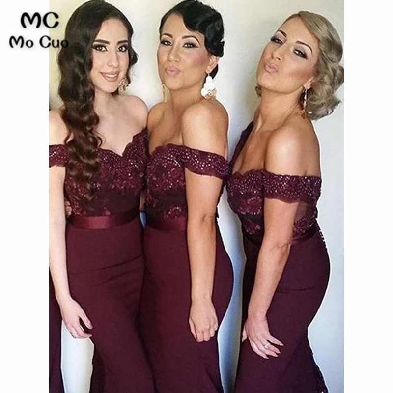 Elegant Off Shoulder Junior   Bridesmaid     Dresses   Long Prom Gown Long Elastic Satin Sleeveless Zipper Mermaid   Bridesmaid     dress
