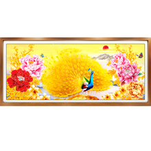 Large 5D DIY Diamond Painting Cross Stitch Peony and peacock Full Square Resin Drill Embroidery Handmade Craft Y2607