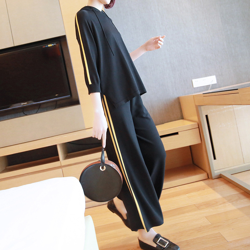 Casual suit female 2019 spring and summer new sweater women's fashion hooded sweater wide leg pants two sets of tide 8