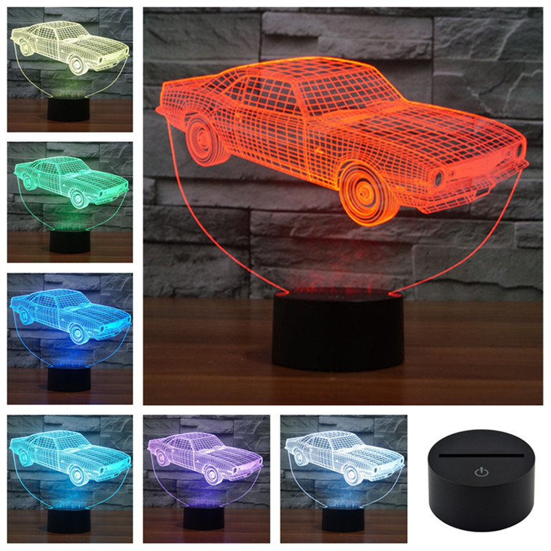 Acrylic Colorful USB Household Bedroom Office LED Table Lamp Child 3D Animation Cars Night Lights Christmas Gift 3D-TD127 andy beane 3d animation essentials