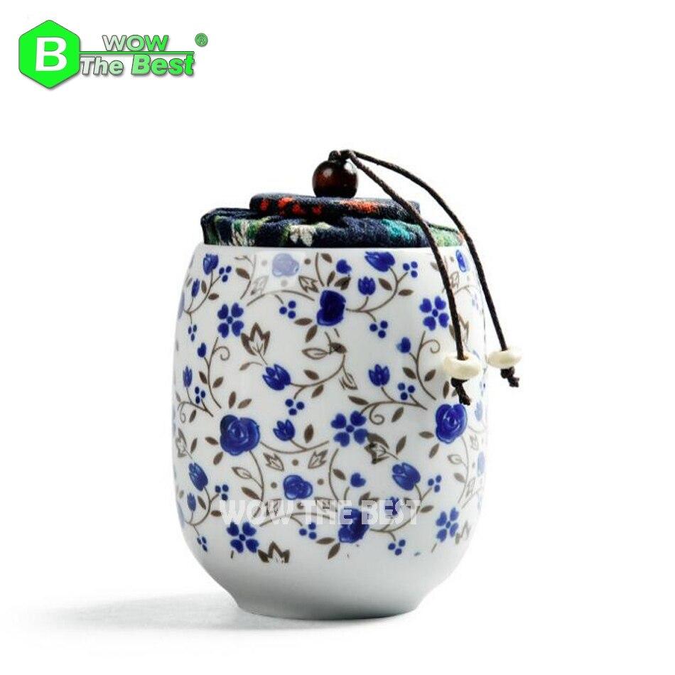 Китайский стиль Мини милый китайский фарфоровый чай керамическая банка для хранения чая грудь путешествия маленький мини банка пробковая ...
